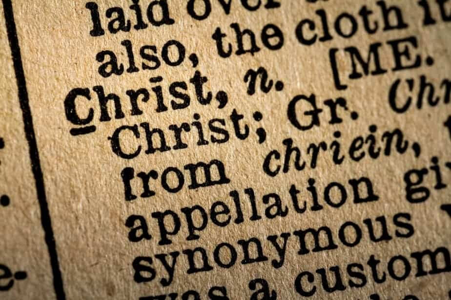 Close-up of the word CHRIST and its definition