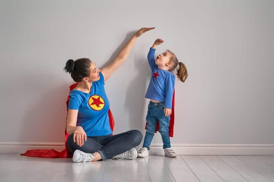 Mother is measuring growth of child