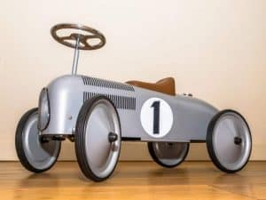 Retro Style Toy Racing Bike in a living room