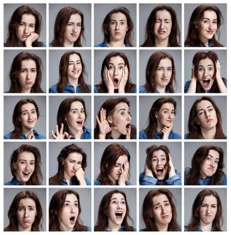 Set of young woman's portraits with different emotions