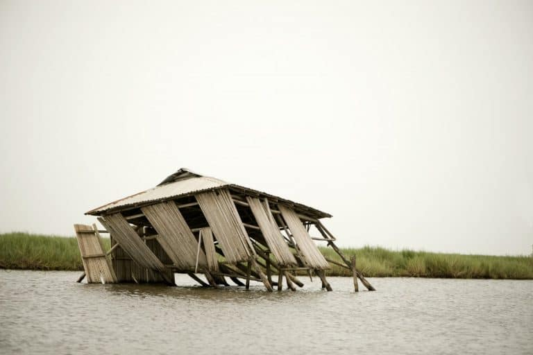 Collapsed stilt house